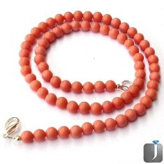 89.63cts GORGEOUS PINK CORAL ROUND 925 SILVER NECKLACE BEADS JEWELRY G44988