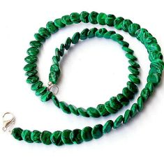 GREEN MALACHITE (PILOT'S STONE) 925 SILVER NECKLACE COIN BEADS JEWELRY H20329