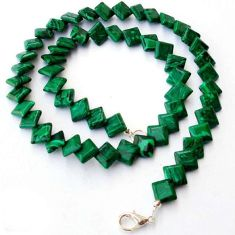 GREEN MALACHITE (PILOT'S STONE) SQUARE 925 SILVER NECKLACE BEADS JEWELRY H20333