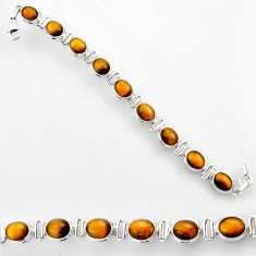 38.48cts natural brown tiger's eye 925 silver beads jewelry r44752