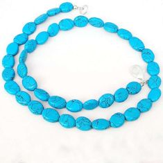 63.57cts MAGICAL BLUE TURQUOISE 925 SILVER OVAL BEADS NECKLACE JEWELRY H20457