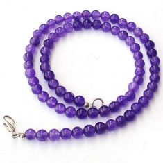 NATURAL AFRICAN PURPLE AMETHYST ROUND 925 SILVER NECKLACE BEADS JEWELRY H20411