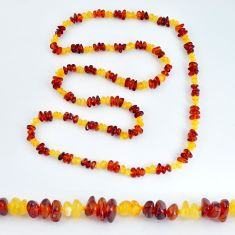 59.67cts natural baltic amber (poland) 925 silver beads necklace jewelry c3245