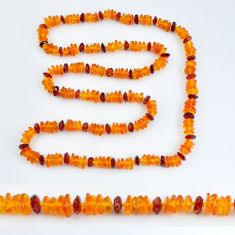 82.17cts natural baltic amber (poland) 925 silver beads necklace jewelry c3246