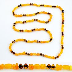 38.12cts natural baltic amber (poland) 925 silver beads necklace jewelry c3262