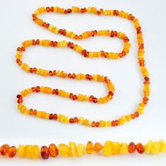 52.60cts natural baltic amber (poland) 925 sterling silver beads necklace c3269