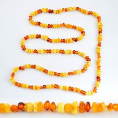 53.51cts natural baltic amber (poland) 925 sterling silver beads necklace c3270