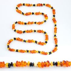 73.17cts natural baltic amber (poland) 925 sterling silver beads necklace c3274