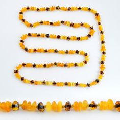 37.17cts natural baltic amber (poland) 925 sterling silver beads necklace c3280
