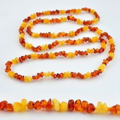 49.59cts natural baltic amber (poland) 925 sterling silver beads necklace c3282