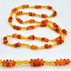 56.16cts natural baltic amber (poland) 925 sterling silver beads necklace c3284