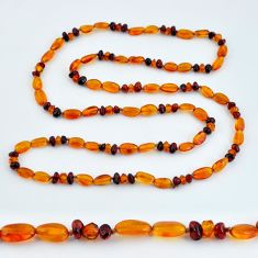 38.12cts natural baltic amber (poland) 925 sterling silver beads necklace c3286