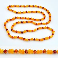 36.09cts natural baltic amber (poland) 925 sterling silver beads necklace c3288