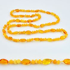 45.13cts natural baltic amber (poland) 925 sterling silver beads necklace c3290