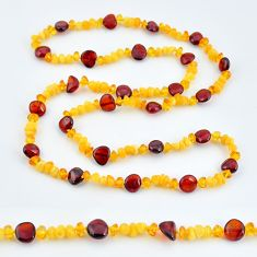 54.13cts natural baltic amber (poland) 925 sterling silver beads necklace c3296