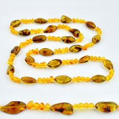 66.11cts natural baltic amber (poland) 925 sterling silver beads necklace c3298