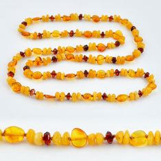 51.66cts natural baltic amber (poland) 925 sterling silver beads necklace c3300
