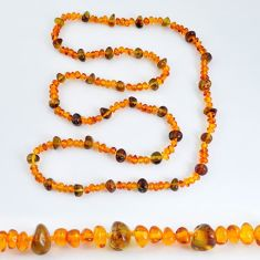 66.91cts natural baltic amber (poland) fancy 925 silver beads necklace c3247