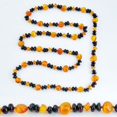 55.17cts natural baltic amber (poland) fancy 925 silver beads necklace c3250