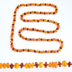 52.60cts natural baltic amber (poland) necklace 925 silver beads jewelry c3252