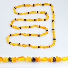 43.60cts natural baltic amber (poland) necklace 925 silver beads jewelry c3254
