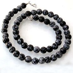 NATURAL BLACK AUSTRALIAN OBSIDIAN ROUND 925 SILVER NECKLACE BEADS JEWELRY H20420