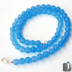 194.87cts NATURAL BLUE CHALCEDONY ROUND 925 SILVER NECKLACE BEADS JEWELRY G44938
