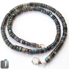 117.85cts NATURAL BLUE LABRADORITE 925 SILVER BEADS NECKLACE JEWELRY F24965