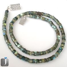 NATURAL BLUE LABRADORITE SPECTROLITE 925 SILVER BEADS NECKLACE JEWELRY G8778