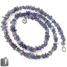 NATURAL BLUE TANZANITE (BLUE ZOISITE) 925 SILVER BEADS NECKLACE JEWELRY G8766