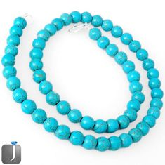 NATURAL BLUE TURQUOISE TIBETAN ROUND 925 SILVER NECKLACE BEADS JEWELRY G48817