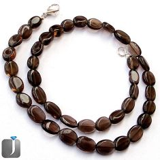 171.69cts NATURAL BROWN SMOKY TOPAZ 925 SILVER NECKLACE BEADS JEWELRY G48941