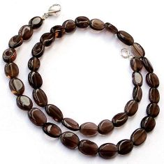 128.59cts NATURAL BROWN SMOKY TOPAZ 925 SILVER NECKLACE BEADS JEWELRY H20401