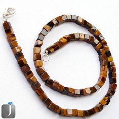 137.28cts NATURAL BROWN TIGERS EYE 925 SILVER BEADS NECKLACE JEWELRY F24990