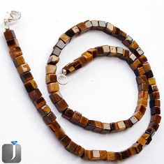 134.52cts NATURAL BROWN TIGERS EYE 925 SILVER NECKLACE BEADS JEWELRY G48944