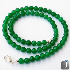 124.58cts NATURAL GREEN CHALCEDONY 925 SILVER NECKLACE BEADS JEWELRY G48954