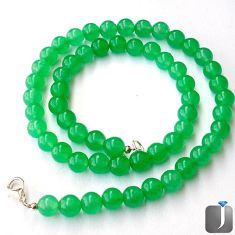 206.33cts NATURAL GREEN JADE ROUND 925 SILVER NECKLACE BEADS JEWELRY G40929