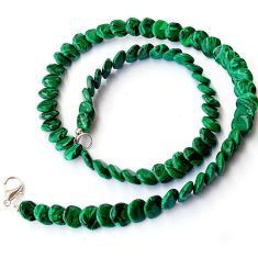 NATURAL GREEN MALACHITE (PILOT'S STONE) 925 SILVER COIN NECKLACE BEADS H8914