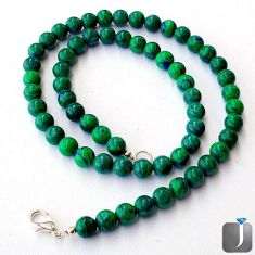 NATURAL GREEN MALACHITE (PILOT'S STONE) 925 SILVER NECKLACE BEADS JEWELRY G40938