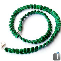 NATURAL GREEN MALACHITE (PILOT'S STONE) 925 SILVER NECKLACE BEADS JEWELRY G8968