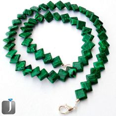 NATURAL GREEN MALACHITE (PILOT'S STONE) 925 SILVER NECKLACE BEADS JEWELRY G8970