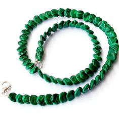 NATURAL GREEN MALACHITE (PILOT'S STONE) 925 SILVER NECKLACE BEADS JEWELRY H20330