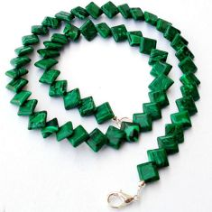 NATURAL GREEN MALACHITE (PILOT'S STONE) 925 SILVER NECKLACE BEADS JEWELRY H8975