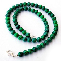 NATURAL GREEN MALACHITE (PILOT'S STONE) 925 SILVER ROUND BEADS NECKLACE H20418