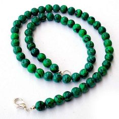 NATURAL GREEN MALACHITE (PILOT'S STONE) 925 SILVER ROUND BEADS NECKLACE H20419