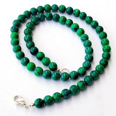 NATURAL GREEN MALACHITE (PILOT'S STONE) 925 SILVER ROUND BEADS NECKLACE H8917