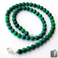 132.45cts NATURAL GREEN MALACHITE 925 SILVER BEADS NECKLACE JEWELRY F4998