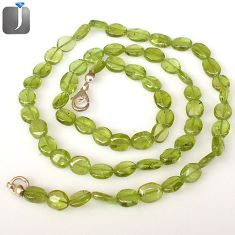 NATURAL GREEN PARROT PERIDOT OVAL SHAPE 925 SILVER BEADS NECKLACE JEWELRY G8773