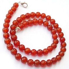 209.68cts NATURAL HONEY ONYX 925 SILVER NECKLACE ROUND BEADS JEWELRY H20421