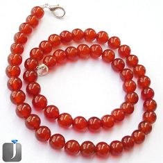 204.23cts NATURAL HONEY ONYX ROUND 925 SILVER NECKLACE BEADS JEWELRY G48841
